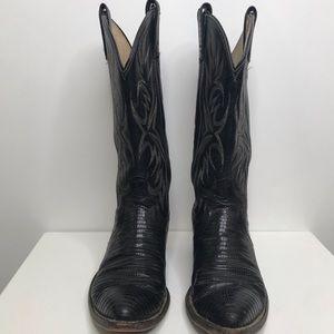 Dan Post mens lizard cowboy western boots black